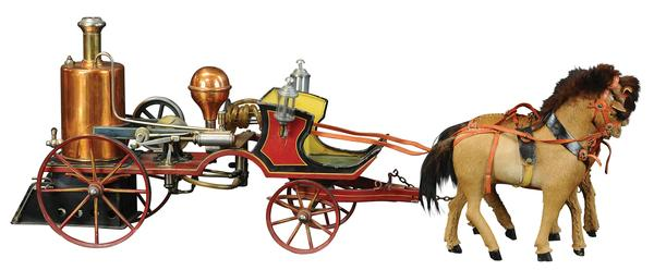 Large and beautiful Marklin horse-drawn fire pumper, vertical brass boiler with nickel-plated fittings and valves, fastidious hand-painting and pinstriping, 29in long.  Provenance: Bill Bertoia collection.  Estimate $25,000-$45,000