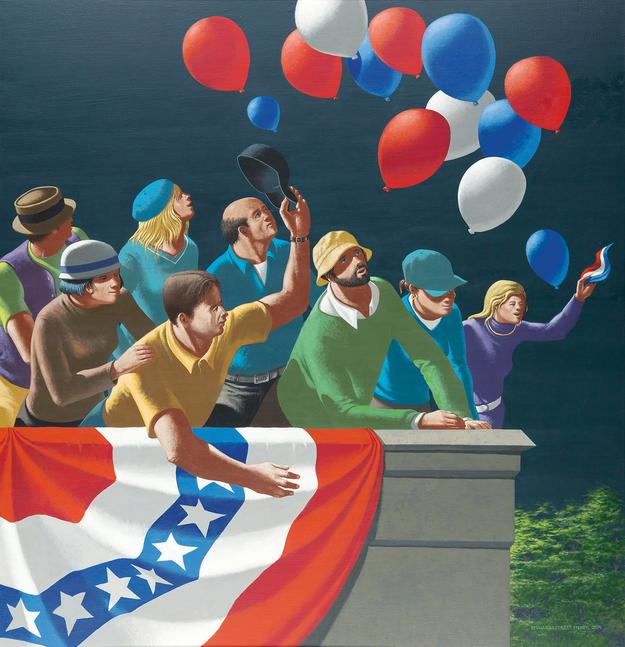 Lot 228: Leonard E.  Fisher, The 4th of July, acrylic on board, 2014.  Estimate $10,000 to $15,000.