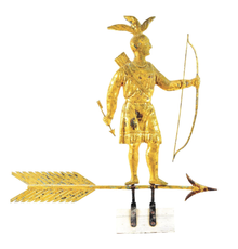 Molded and gilded-copper weathervane depicting full-bodied standing Massasoit Indian with bow and arrow atop directional arrow with molded zinc arrowhead.  Made by Harris & Co., Boston, late 19th century.  Sold comfortably within estimate range for $258,300