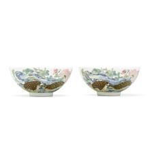 AN EXCEPTIONALLY RARE PAIR OF IMPERIAL 'QUAIL AND CHRYSANTHEMUM' BOWLS, YONGZHENG MARKS AND OF THE PERIOD Estimate: $300,000-500,000