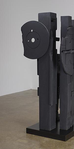 "Louise Nevelson Cascades-Perpendiculars II (Night Music), 1980-82 wood painted black 82"" x 33"" x 38"" (208.3 cm x 83.8 cm x 96.5 cm) Gift from the Lipman Family Foundation"
