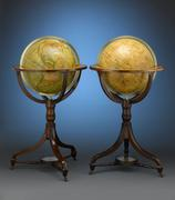 "Globes, such as this pair of 18"" examples from J.& W.  Cary, afforded their owner a wealth of information right at their fingertips."