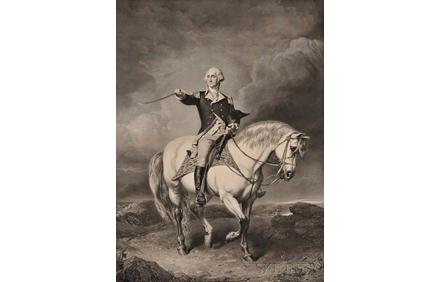 Washington, George (1732-1799) Washington Receiving a Salute on the Field of Trenton.  New York: Published by John McClure at Goupils, [c.  1863].  (Lot 5, Estimate $500-700)