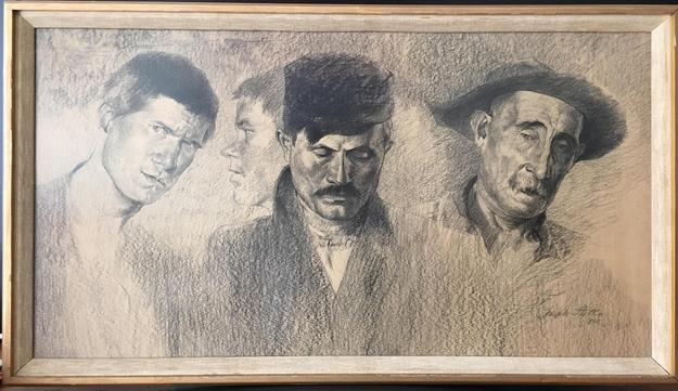 "LOT 2B Artist: Joseph Stella (1877-1946) Title: ""Pittsburgh Types: In the bread line at Woods Run"" Medium: charcoal on paper Size: 18 1/4"" x 34 3/8"" sheet size Date: 1905 Provenance: - East Coast Private Collection - Collection of Caesar P.  Kimmel Exhibitions: - Whitney Museum - ""Joseph Stella"" April 22-Oct 9, 1994 ESTIMATE: $10,000-12,000"
