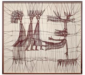 "Luba Krejci, Primitive Figures Birds and Insects, circa 1970s knotted linen, 40.5"" x 44.5"" x 2"""