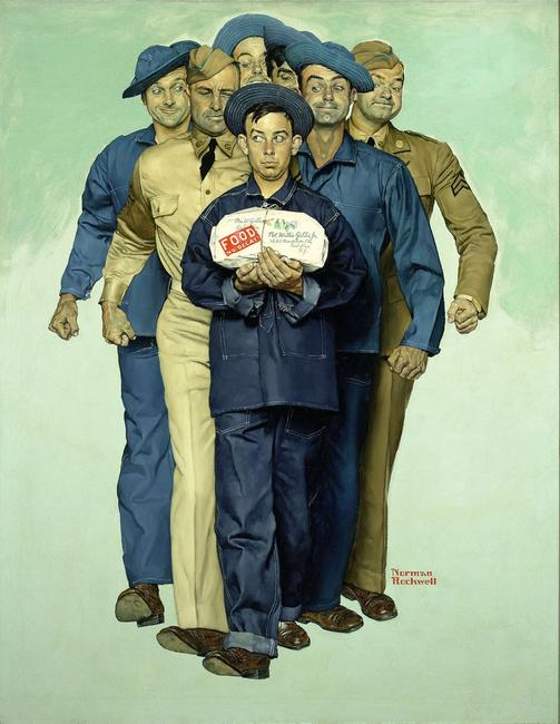 Norman Rockwell 1894-1978 · American Willie Gillis: Package From Home Exhibitor: M.S.  Rau Antiques