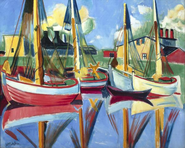 Fishing Boats in the Afternoon Sun, Herman Max Pechstein