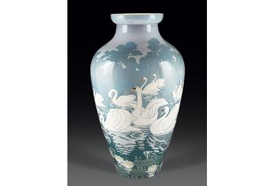 The quality and scale of these stunning Sèves porcelain vases denotes their creation for the 1900 World's Fair.