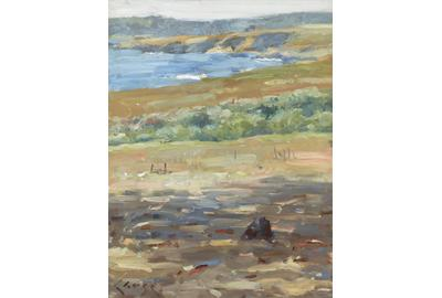 Coastal landscape painted by Chase during lesson in Carmel-by-the-Sea, California, in 1914