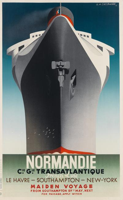 Lot 33: Adolphe Mouron Cassandre, Normandie / Maiden Voyage, 1935.  Sold October 26, 2017 for $20,000.  (Pre-sale estimate: $15,000 to $20,000)