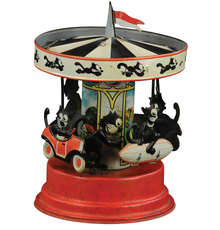 Gunthermann Felix the Cat merry-go-round windup character toy, one of few known examples.  Estimate $10,000-$15,000