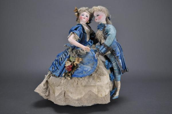 Circa-1880 luxury automaton The Waltzing Couple, Gustav Vichy, bisque heads, blue glass eyes, painted facial features.  Estimate $3,000-$5,000
