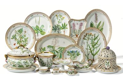 "Selection from an extensive collection of Royal Copenhagen ""Flora Danica"" dinner wares."
