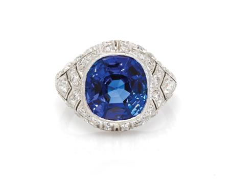 An Art Deco platinum, Burmese sapphire and diamond ring $30,000/50,000
