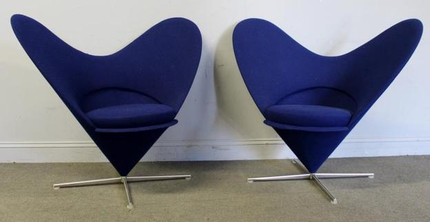 Pair Verner Panton Heart Chairs for Vitra