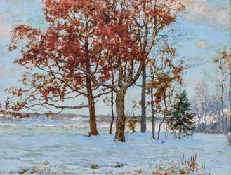 "WALTER LAUNT PALMER American (1854-1932) Trees in Winter oil on canvas, signed lower left ""W.  L.  Palmer"" 14 x 18 inches"