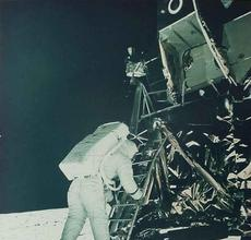 Apollo 11 Astronaut Edwin Aldrin descends Lunar Module to Walk on the Moon, July 20, 1969