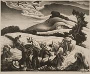 Thomas Hart Benton Cradling Wheat, 1939 Lithograph and ink 9 1/2 x 12 inches Gift of Josephine Chandler, San Jose 1982.76