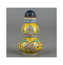 Fine and very rare Famille Rose enameled double-gourd-shape glass snuff bottle, Qianlong, Chinese Imperial Palace Workshops, 4-character mark (1736-1780).  Similar to example auctioned by Christie's NY in 2006 for $329,600.  Est.  £50,000-£75,000