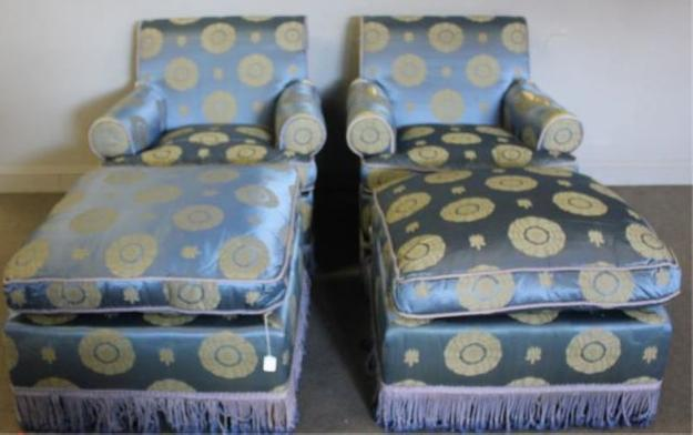 Upholstered Versace Collection Chairs with Ottomans.