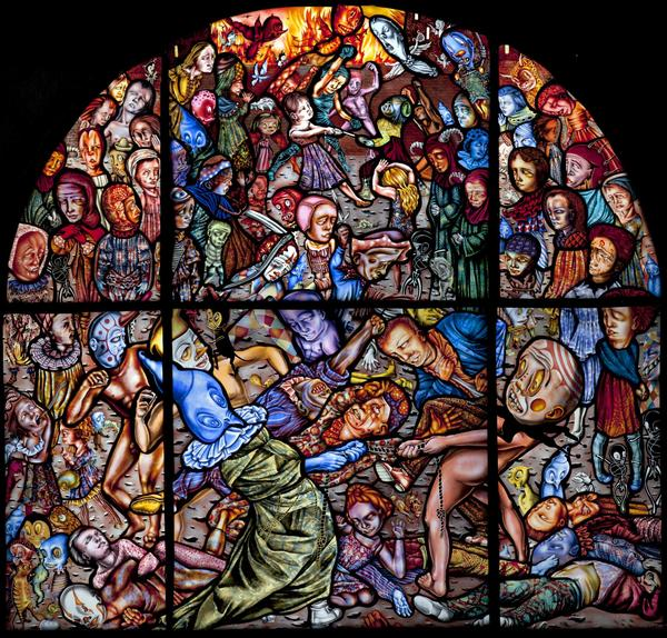 Image Credit: Judith Schaechter, The Battle of Carnival and Lent, 2010–11.  Stained-glass panel, 56 x 56 in., Memorial Art Gallery.