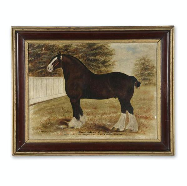 Oil on canvas painting of a horse by the Canadian photographer and painter J.  J.  Kenyon (Oxford County, 1862-1937), 23 ½ inches by 17 ½ inches (sight) (CA$11,800).