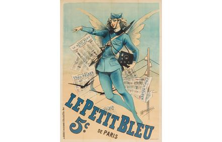 Alfred Choubrac, Le Petit Bleu, 1898, ($800/$1,200) to be sold June 23 at Leslie Hindman Auctioneers