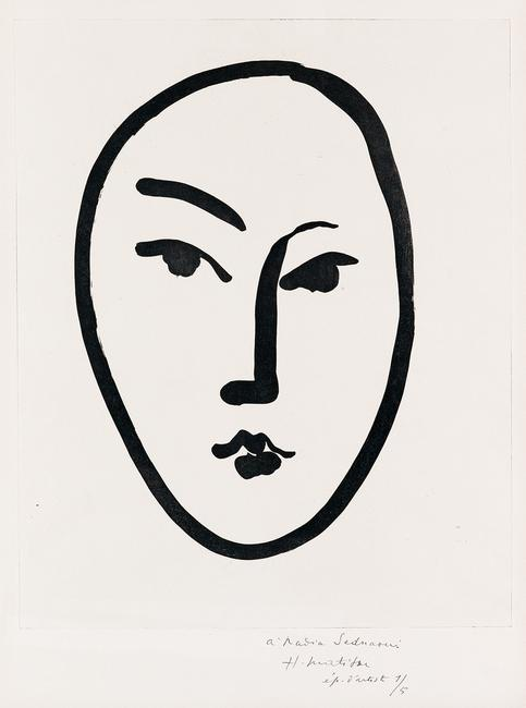 Lot 424: Henri Matisse, Grand Masque, aquatint, inscribed to model Nadia Sednaoui, 1948.  Sold May 8, 2018 for $87,500, a record for the work.  (Pre-sale estimate: $50,000 to $80,000)