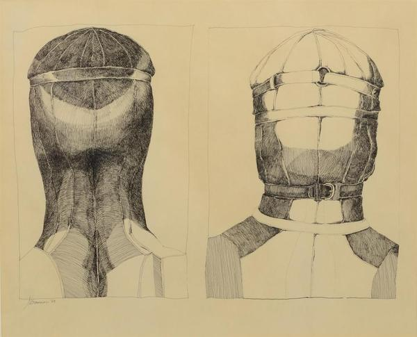"Lot 8409 Nancy Grossman (American, b 1940) ink on paper, Two Heads, signed and dated '68 lower left, 12-1/4"" x 14-1/2"" overall, Cordier & Ekstorm (New York) gallery label on verso , Property from the Estate of Daniel Dietrich, II"