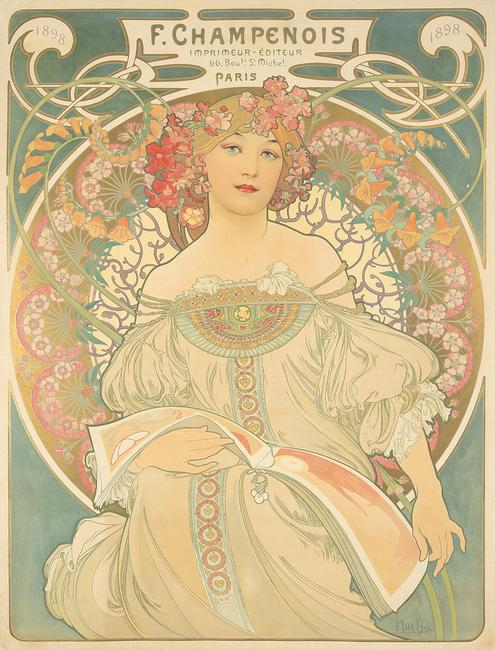 Lot 427.  F.  Champenois / Reverie, 1897, by Alphonse Mucha (1860-1939).