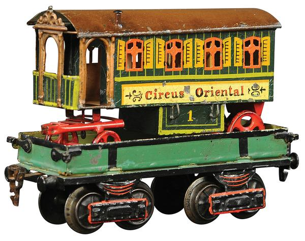 Circa-1908 Marklin 'Circus Oriental' train wagon, 8in long with exquisite detail, hand-painted shutters.  Estimate $20,000-$30,000
