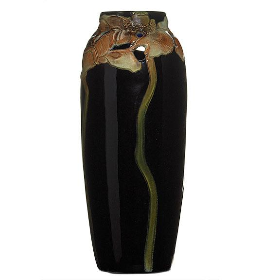 J.D.  WAREHAM / ROOKWOOD Reticulated Black Iris vase.