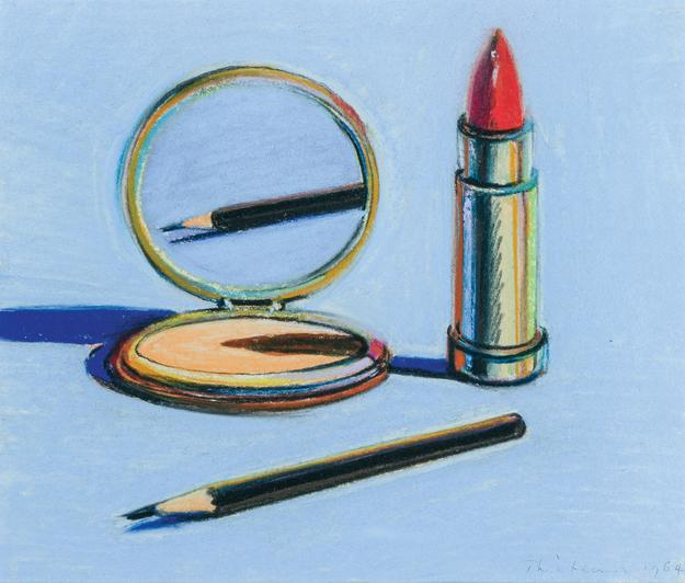 "Wayne Thiebaud, pastel on paper, executed in 1964 and titled ""Eyebrow Pencil."""