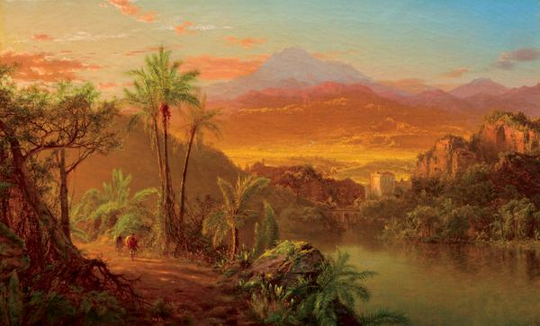 "Louis Remy Mignot, ""Travelers in a Tropical Landscape"""