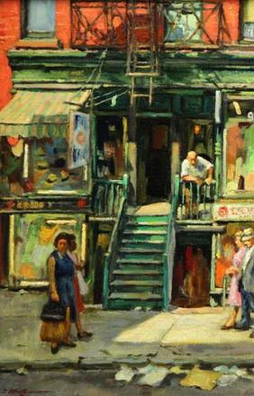 """Lot 47 - """"Sunday on Orchard St."""" 1 of 4 Oil Paintings by Issac Holtz in the 2/28 auction at Clarke."""