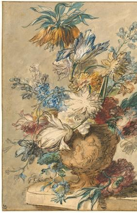 Jan van Huysum, Bouquet of Spring Flowers in a Terracotta Vase, 1720s oiled charcoal and watercolor on laid paper National Gallery of Art, Washington, Pepita Milmore Memorial Fund, The Ahmanson Foundation Fund, Linda H.  Kaufman Fund, and Mr.  and Mrs.  Louis Glickfield Fund