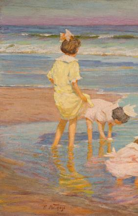 Lot 49: EDWARD HENRY POTTHAST, (American, 1857-1927), WADING, oil on board, 11 1/4 x 15 1/2 in., $30,000-50,000