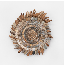 Mary Bauermeister (b.1934), Wirbel, 2008, stones, wood and sand adhered to particle board, 39 x 35 x 3 1/2 inches / 99.1 x 88.9 x 8.9 cm