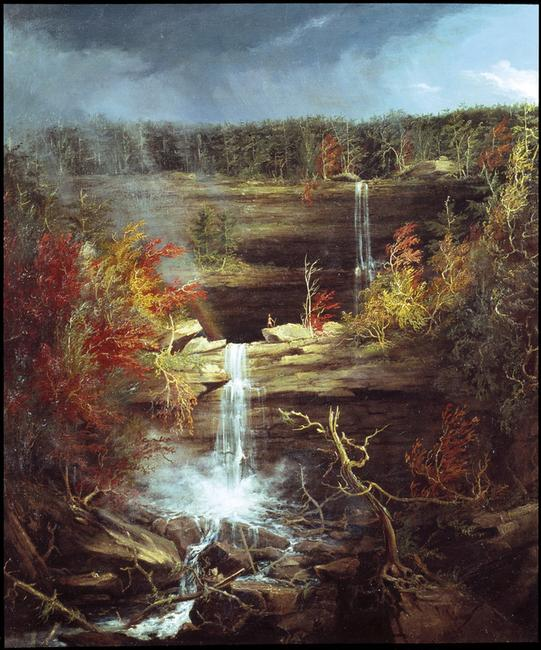"Thomas Cole ""Falls of the Kaaterskill,"" 1826.  Oil on canvas, 43 x 36 in."
