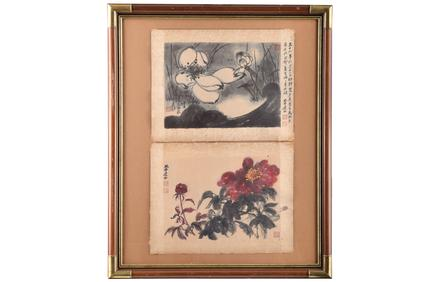 Two works by renowned 20th Century painter, Zhang Daquin, are framed together and come to auction after decades in the hands of a private collector who purchased them from the artist's Carmel, California studio (Est.  $40,000 - $60,000).