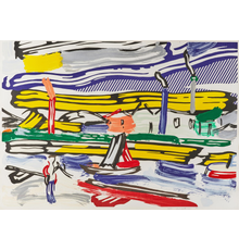 Lot 46.  Roy Lichtenstein, The River, from Landscapes, 1985, lithograph, woodcut, and screenprint in colors, 40 x 55 in., $50,000-75,000
