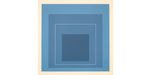 "Josef Albers, ""White Line Squares XIII,"" 1966–1970.  Lithograph on paper, 21 x 21 inches.  Gift of the Docent Council.  1979.06.  ""Break + Bleed"" on view at San José Museum of Art June 4, 2021–January 31, 2022."
