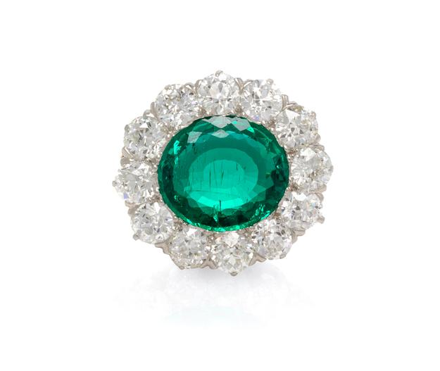 A Fine Platinum, Yellow Gold, Emerald and Diamond Brooch, Tiffany & Co.