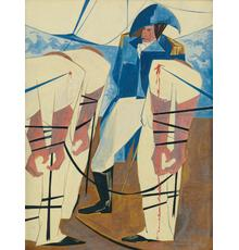 Lot 55: Jacob Lawrence, 19.  Tension on the High Seas, tempera on board, 1956.  Estimate $75,000 to $100,000.