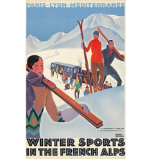 Roger Broders, Winter Sports in the French Alps (circa 1929).  Est: $5,000-$6,000.