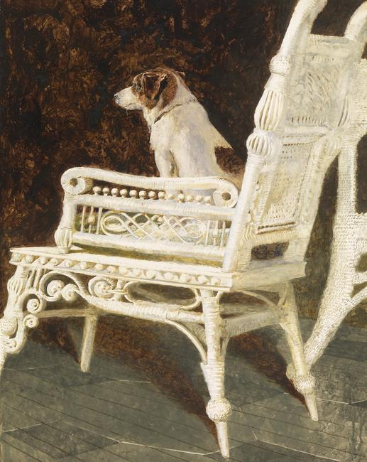 Jamie Wyeth (b.  1946), Yolk and the Wicker Chair, Combined mediums on paper, 28 x 22 ¼ in, 1987.