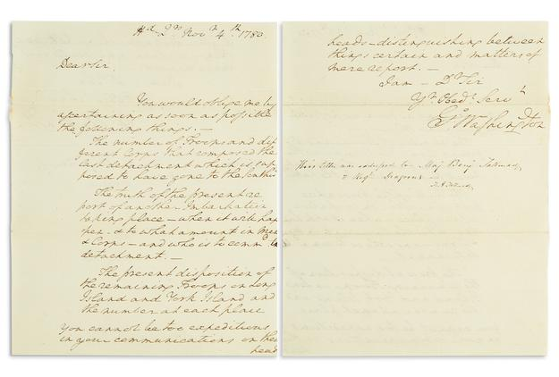 Lot 7: George Washington, Autograph Letter Signed, to his spymaster Benjamin Tallmadge, New Jersey, 1780.  Sold November 7, 2017 for $40,000.  (Pre-sale estimate $25,000 to $35,000).
