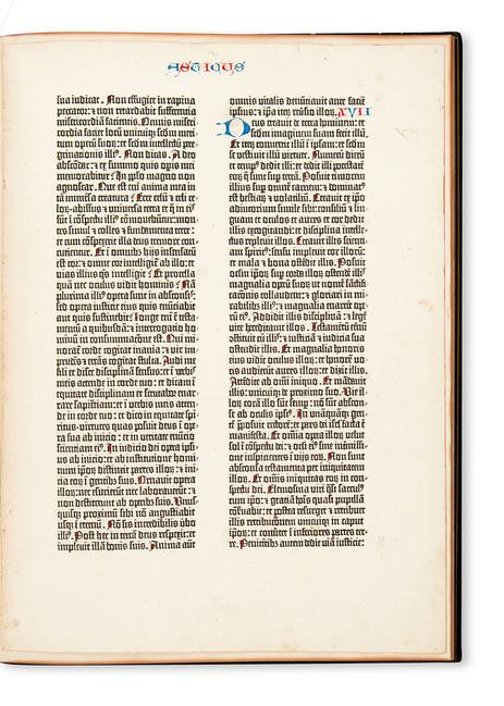 Single leaf from a paper copy of the Gutenberg Bible, Mainz, 1455, in a copy of Newton's A Noble Fragment.  Estimate $40,000 to $60,000.