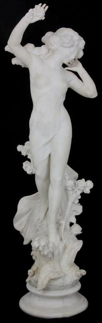 Carved Carrara marble sculpture of a standing nude woman by Italian artist Pasquale Romanelli (1812-1887), 60 inches tall, with no damage or repairs (est.  $30,000-$45,000).