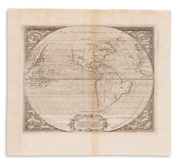"Lot 77: Richard Hakluyt, Novus Orbis, engraved folding map, showing first printed use of ""Virginia,"" Paris, 1587.  Estimate $40,000 to $60,000."